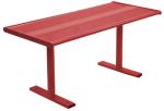 Tisch -Gunix-, aus Stahl, Abstellfläche aus Lochblech, zum Aufdübeln (Farbe: Verkehrsblau (RAL 5017) (Art.Nr.: 23707))