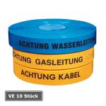 Trassenwarnband, VE 10 Stück, Länge 250 m, verschiedene Breiten, Farben und Texte