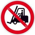 Verbotsschild, Für Flurförderzeuge verboten (Maße(Ø)/Material : 100mm/Folie,selbstklebend (Art.Nr.: 21.a6109))