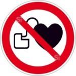 Verbotsschild, Kein Zutritt für Personen mit Herzschrittmachern oder implantierten Defibrillat... (Maße Ø/Material: 100mm/Folie,selbstklebend (Art.Nr.: 21.a6261))