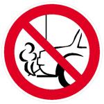 Verbotsschild, Verbot, mit dem Auspuff zur Wand zu parken