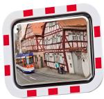 Verkehrsspiegel -DURABEL ECO- aus Edelstahl, eckig (Ma&szlig;e(BxH)/max. Beobachterabstand: 600x450mm/ <b>6m</b> (Art.Nr.: 21903))