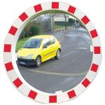 Verkehrsspiegel Vialux&reg; mit rot / wei&szlig;em Rahmen, rund (Durchmesser/Material/Max. Beobachterabstand/Gewicht:  <b>&Oslash;600mm</b>/Miroirs&reg; P.A.S.<br>ca. 11m/12 kg/ <b>5 Jahre Garantie</b><br>auf die Funktion (Spiegelglas,<br>Rahmen,Halterung)