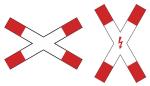 Verkehrszeichen StVO, Andreaskreuz Nr. 201-50 / 201-51 / 201-52 / 201-53 (Position/Folie/Blitzpfeil: stehend/ <b>RA1</b>/mit Blitzpfeil (Art.Nr.: 201-51-1))