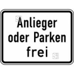 Verkehrszeichen StVO, Anlieger oder Parken frei Nr. 1020-31 (Ma&szlig;e/Folie/Form:  <b>315x420mm</b>/RA1/Flachform 2mm (Art.Nr.: 1020-31-111))