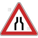 Verkehrszeichen StVO, Beidseitig verengte Fahrbahn Nr. 120 (Seitenl&auml;nge/Folie/Form:  <b>630mm</b>/RA1/Flachform 2mm (Art.Nr.: 120-111))