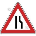 Verkehrszeichen StVO, Einseitig verengte Fahrbahn, Verengung rechts Nr. 121-10 (Seitenl&auml;nge/Folie/Form:  <b>630mm</b>/RA1/Flachform 2mm (Art.Nr.: 121-10-111))
