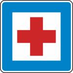 Verkehrszeichen StVO, Erste Hilfe Nr. 358 (Ma&szlig;e/Folie/Form:  <b>600x600mm</b>/RA1/Flachform 2mm (Art.Nr.: 358-111))