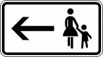 Verkehrszeichen StVO - Fu&szlig;g&auml;nger Gehweg links gegen&uuml;ber benutzen Nr. 1000-12 (Ma&szlig;e/Folie/Form:  <b>231x420mm</b>/RA1/Flachform 2mm (Art.Nr.: 1000-12-111))