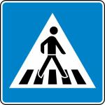 Verkehrszeichen StVO, Fußgängerüberweg Aufstellung links Nr. 350-20 (Folie/Form: RA1/Flachform 2mm (Art.Nr.: 350-20-211))