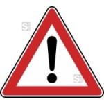 Verkehrszeichen StVO, Gefahrstelle Nr. 101 (Seitenl&auml;nge/Folie/Form:  <b>630mm</b>/RA1/Flachform 2mm (Art.Nr.: 101-111))