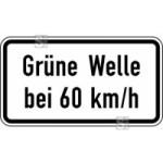 Verkehrszeichen StVO, Gr&uuml;ne Welle bei ... km / h Nr. 1012-34 (Ma&szlig;e/Folie/Form:  <b>231x420mm</b>/RA1/Flachform 2mm (Art.Nr.: 1012-34-111))