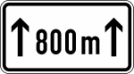 Verkehrszeichen StVO, L&auml;nge einer Verbotsstrecke auf ... m, Nr. 1001-30 (Ma&szlig;e/Folie/Form:  <b>231x420mm</b>/RA1/Flachform 2mm (Art.Nr.: 1001-30-111))