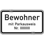 Verkehrszeichen StVO, Nur Bewohner mit Parkausweis Nr. ... Nr. 1044-30 (Ma&szlig;e/Folie/Form:  <b>231x420mm</b>/RA1/Flachform 2mm (Art.Nr.: 1044-30-111))