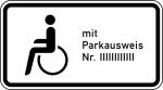Verkehrszeichen StVO, Nur Schwerbehinderte mit au&szlig;ergew&ouml;hnlicher Gehbehinderung und Sehbehinderte mit Parkausweis Nr. - Nr. 1044-11 (Ma&szlig;e/Folie/Form:  <b>231x420mm</b>/RA1/Flachform 2mm (Art.Nr.: 1044-11-111))