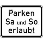 Verkehrszeichen StVO, Parken Samstag und Sonntag erlaubt Nr. 1042-37 (Ma&szlig;e/Folie/Form:  <b>315x420mm</b>/RA1/Flachform 2mm (Art.Nr.: 1042-37-111))