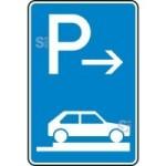 Verkehrszeichen StVO, Parken auf Gehwegen ganz quer zur Fahrtr. rechts (Ende) Nr. 315-87 (Ma&szlig;e/Folie/Form:  <b>630x420mm</b>/RA1/Flachform 2mm (Art.Nr.: 315-87-111))