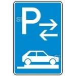Verkehrszeichen StVO, Parken auf Gehwegen ganz quer zur Fahrtr. rechts (Mitte) Nr. 315-88 (Ma&szlig;e/Folie/Form:  <b>630x420mm</b>/RA1/Flachform 2mm (Art.Nr.: 315-88-111))
