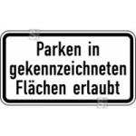 Verkehrszeichen StVO, Parken in gekennzeichneten Fl&auml;chen erlaubt Nr. 1053-30 (Ma&szlig;e/Folie/Form:  <b>231x420mm</b>/RA1/Flachform 2mm (Art.Nr.: 1053-30-111))