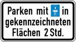 Verkehrszeichen StVO, Parken mit Parkscheibe in gekennzeichneten Fl&auml;chen Nr. 1040-33 (Ma&szlig;e/Folie/Form:  <b>231x420mm</b>/RA1/Flachform 2mm (Art.Nr.: 1040-33-111))