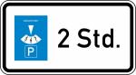Verkehrszeichen StVO, Parkscheibe ... Stunden Nr. 1040-32 (Ma&szlig;e/Folie/Form:  <b>231x420mm</b>/RA1/Flachform 2mm (Art.Nr.: 1040-32-111))
