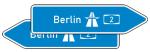 Verkehrszeichen StVO, Pfeilwegweiser zur Autobahn, doppelseitig, H&ouml;he 600 mm, Schrifth&ouml;he 140 mm, zweizeilig Nr. 430-40 (L&auml;nge/Folie:  <b>2000mm</b>/RA1 (Art.Nr.: 430-40-7-513))