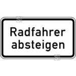 Verkehrszeichen StVO, Radfahrer absteigen Nr. 1012-32 (Ma&szlig;e/Folie/Form:  <b>231x420mm</b>/RA1/Flachform 2mm (Art.Nr.: 1012-32-111))