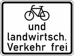 Verkehrszeichen StVO, Radfahrer und landwirtschaftlicher Verkehr frei Nr. 2211 (Ma&szlig;e/Folie/Form:  <b>315x420mm</b>/RA1/Flachform 2mm (Art.Nr.: 2211-111))