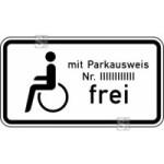 Verkehrszeichen StVO, Schwerbehinderte mit Parkausweis Nr. ... frei Nr. 1020-11 (Ma&szlig;e/Folie/Form:  <b>231x420mm</b>/RA1/Flachform 2mm (Art.Nr.: 1020-11-111))