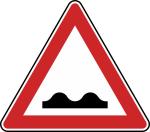 Verkehrszeichen StVO, Unebene Fahrbahn Nr. 112 (Seitenl&auml;nge/Folie/Form:  <b>630mm</b>/RA1/Flachform 2mm (Art.Nr.: 112-111))