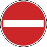 Verkehrszeichen StVO, Verbot der Einfahrt Nr. 267 (Durchmesser/Folie/Form:  <b>420mm</b>/RA1/Flachform 2mm (Art.Nr.: 267-111))