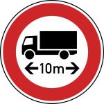 Verkehrszeichen StVO, Verbot f&uuml;r Fahrzeuge &uuml;ber ... L&auml;nge Nr. 266 (Durchmesser/Folie/Form:  <b>600mm</b>/RA1/Flachform 2mm (Art.Nr.: 266-211))