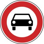 Verkehrszeichen StVO, Verbot f&uuml;r Kraftwagen und sonstige mehrspurige Fahrzeuge Nr. 251 (Durchmesser/Folie/Form:  <b>420mm</b>/RA1/Flachform 2mm (Art.Nr.: 251-111))