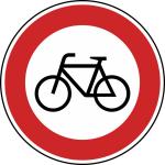 Verkehrszeichen StVO, Verbot f&uuml;r Radverkehr Nr. 254 (Durchmesser/Folie/Form:  <b>420mm</b>/RA1/Flachform 2mm (Art.Nr.: 254-111))