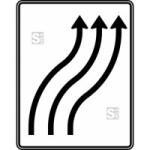 Verkehrszeichen StVO, Verschwenkungstafel, Nr. 511-22 (Folie/Entfernungsangabe/Ma&szlig;e(HxB): RA1/Flachform 2mm<br> <b>ohne Entfernungsangabe</b><br>1600x1250mm (Art.Nr.: 511-22-111))