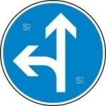 Verkehrszeichen StVO, Vorgeschriebene Fahrtrichtung geradeaus oder links Nr. 214-10 (Durchmesser/Folie/Form:  <b>420mm</b>/RA1/Flachform 2mm (Art.Nr.: 214-10-111))