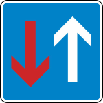 Verkehrszeichen StVO, Vorrang vor dem Gegenverkehr Nr. 308 (Ma&szlig;e/Folie/Form:  <b>420x420mm</b>/RA1/Flachform 2mm (Art.Nr.: 308-111))