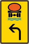 Verkehrszeichen StVO, Vorwegweiser f&uuml;r Fahrzeuge mit wassergef&auml;hrdender Ladung, linksw. Nr.442-12 (Ma&szlig;e/Folie/Form:  <b>630x420mm</b>/RA1/Flachform 2mm (Art.Nr.: 442-13-111))