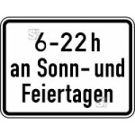 Verkehrszeichen StVO, Zeitliche Beschr&auml;nkung 6 - 22 h an Sonn- und Feiertagen Nr. 1042-35 (Ma&szlig;e/Folie/Form:  <b>315x420mm</b>/RA1/Flachform 2mm (Art.Nr.: 1042-35-111))