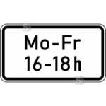 Verkehrszeichen StVO, Zeitliche Beschr&auml;nkung Mo - Fr, ... - ... h Nr. 1042-33 (Ma&szlig;e/Folie/Form:  <b>231x420mm</b>/RA1/Flachform 2mm (Art.Nr.: 1042-33-111))