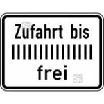 Verkehrszeichen StVO, Zufahrt bis ... frei Nr. 1028-33 (Ma&szlig;e/Folie/Form:  <b>315x420mm</b>/RA1/Flachform 2mm (Art.Nr.: 1028-33-111))