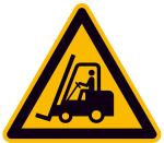 Warnschild, Warnung vor Flurförderzeugen (Maße (SL): 100mm/Folie,selbstklebend (Art.Nr.: 21.a8230))