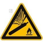 Warnschild, Warnung vor Gasflaschen (Maße (SL)/Material: 100mm/Folie,selbstklebend (Art.Nr.: 21.a8150))