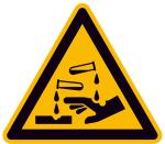 Warnschild, Warnung vor ätzenden Stoffen (Maße (SL)/Material/Variante: 100mm/Folie,selbstklebend (Art.Nr.: 21.a8110))