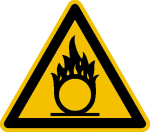 Warnschild, Warnung vor brandfördernden Stoffen (Maße (SL)/Material/Variante: 100mm/Folie,selbstklebend (Art.Nr.: 21.a1005))