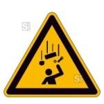 Warnschild, Warnung vor herabfallenden Gegenständen (Maße (SL): 100 mm (Art.Nr.: 11.a8215))