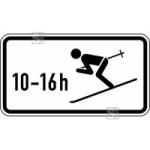 Winterschild StVO, Wintersport erlaubt, zeitlich beschr&auml;nkt (10 - 16 h) Nr. 1040-10 (Ma&szlig;e/Folie/Form:  <b>231x420mm</b>/RA1/Flachform 2mm (Art.Nr.: 1040-10-111))