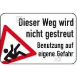 Winterschild / Verkehrszeichen, Dieser Weg wird nicht gestreut - Benutzung auf eigene Gefahr (Maße (HxB): 400x600mm (Art.Nr.: 14751))
