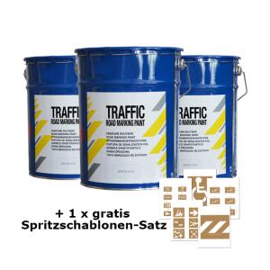 3+1-Set, 3 x Straßenmarkierfarbe -Traffic Paint- + 1 x Spritzschablonen-Satz