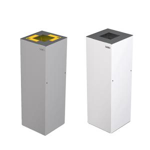 Abfallbehälter -Alicante- 45 L, Stahlblech, grau o. weiß, farbige Deckelkennzeichnungen wählbar